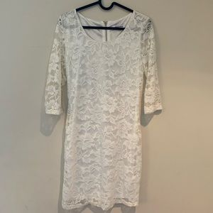 3/4 sleeve lace dress (white)